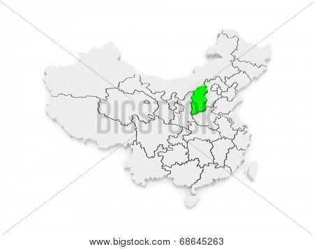 Map of Shanxi. China. 3d