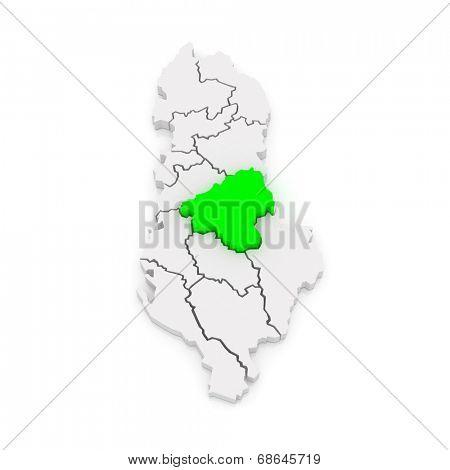 Map of Elbasan. Albania. 3d poster