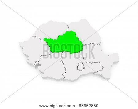Map of Central Region Development Romania. 3d