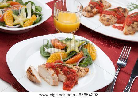 Chicken Breast With Citrus Salad.