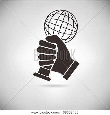 hand hold up an award in dark retro background poster