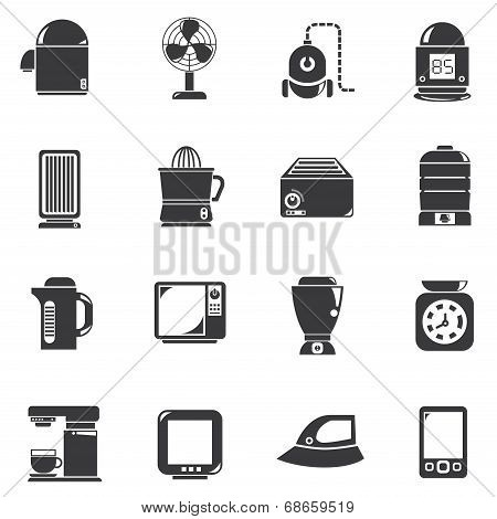 set of 16 home appliance and electronics icons poster