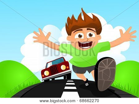 Child running away from car