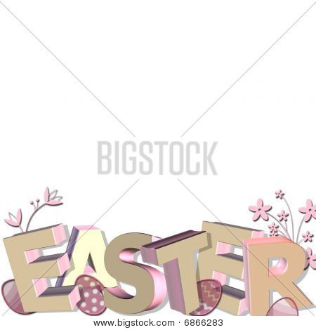 Easter border in 3D