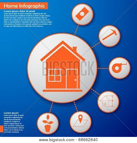 Home infographic with plant hummer and money