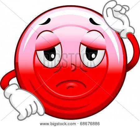 Mascot Illustration of a Sickly Red Blood Cell
