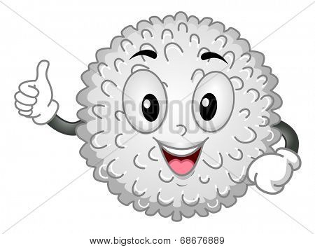 White Blood Cell Mascot/Mascot Illustration Featuring a White Blood Cell Giving a Thumbs Up