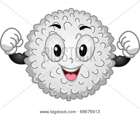 Mascot Illustration Featuring a White Blood Cell Flexing its Muscles