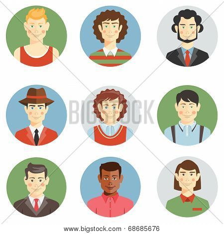 Boys and men faces icons in flat style