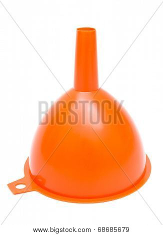 orange plastic funnel with a white background