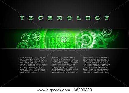 Metal Technology Panel With Green Glowing Gears vector