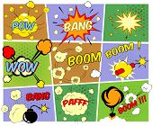 Bright colorful mock-ups of comic book speech bubbles depicting a variety of sounds explosions bang pfaff pow wow boom with motion puffs and star bursts and a burning bomb and dynamite poster