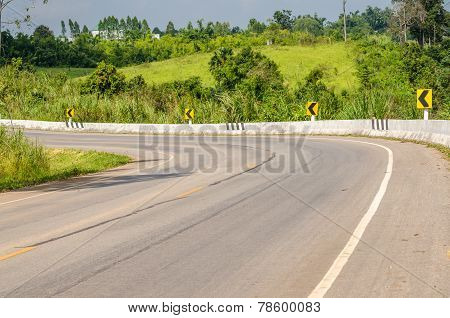 Twisty Mountain Road In Nature