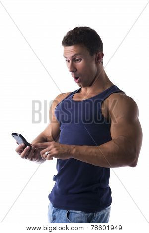 Man Reacting In Shock To A Mobile Text Message