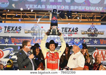 Ft. Worth, TX - Nov 02, 2014:  Jimmie Johnson (48) wins the AAA TEXAS 500 at Texas Motor Speedway in Ft. Worth, TX.