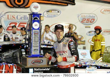 Iowa Speedway, IA - Aug 02, 2014: Brad Keselowski (22) celebrates winning the U.S. Cellular 250 at Iowa Speedway in Newton, IA.