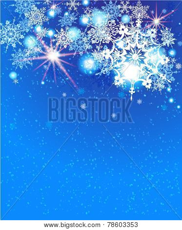 Holiday snow background with copy space.