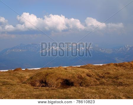 Carpathian mountains 1 under snow in spring