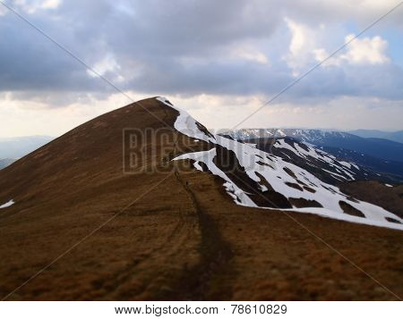 Carpathian mountains 3 under snow in spring