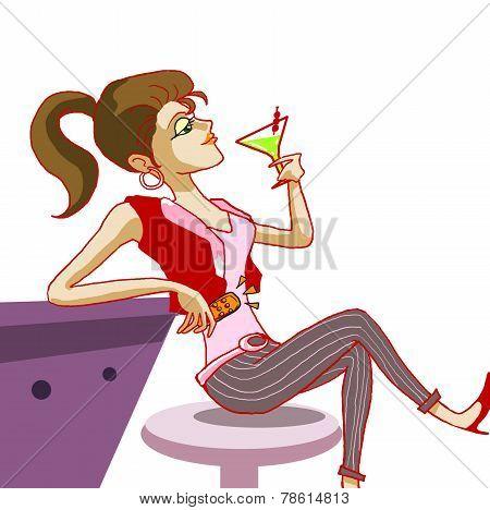 girl drinking cocktail in night club illustration