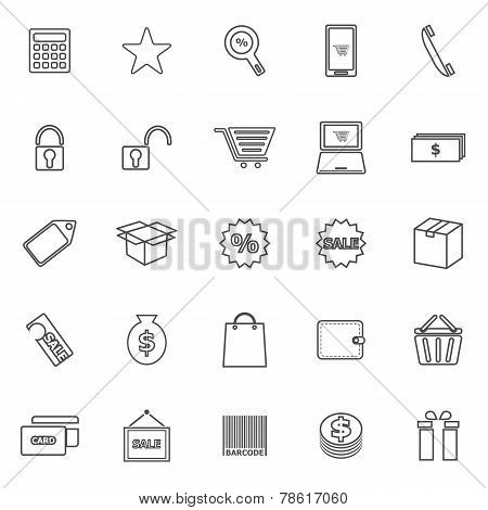 Shopping Line Icons On White Background