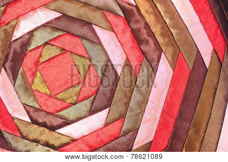 Colorful thai handcraft peruvian style rug surface close up.