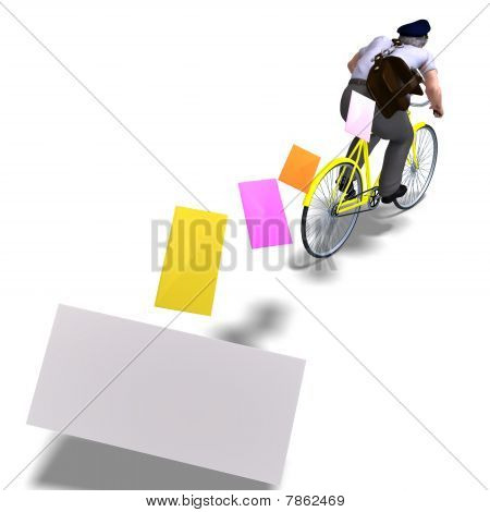 postman on a bike with invitations. 3D rendering with clipping path and shadow over white poster