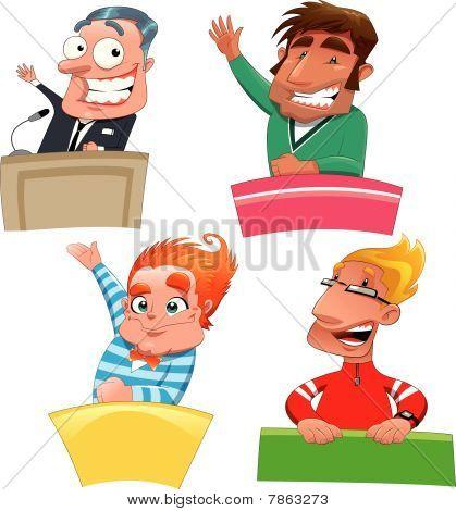 Set of different characters: Politician, teacher, student, presenter, etc...