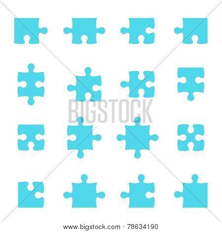 Set of vector puzzle pieces.
