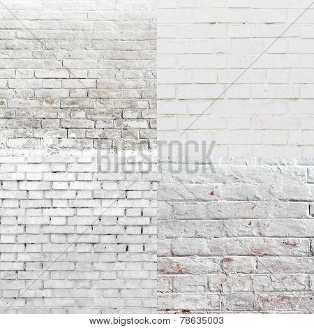 White Brick Wall Pattern Texture Set