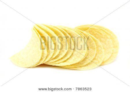 Potato Crisps On White
