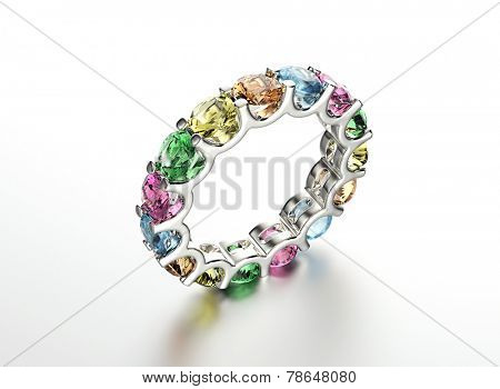 Wedding Ring with different color diamond. Fashion Jewelry background poster