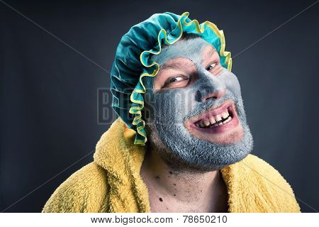 Strange man with face pack poster