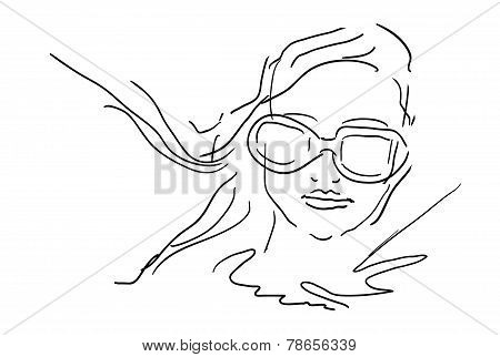 Hand Draw Woman Face With Glasses - sketch vector illustration