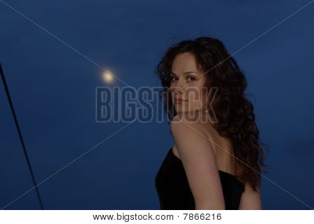 Girl and full moon