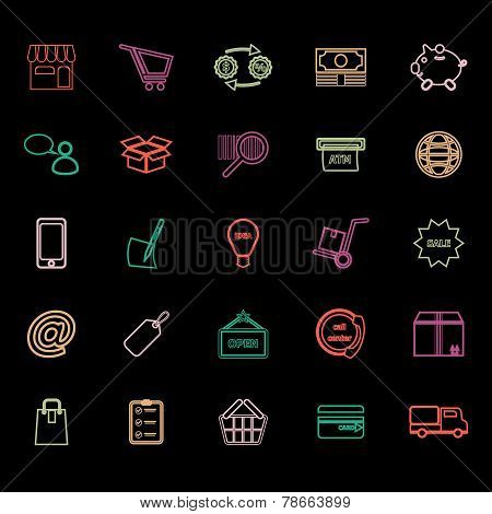 Internet Entrepreneur Line Icons Flat Color