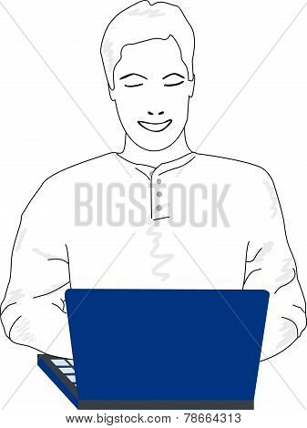 Young Man On Computer
