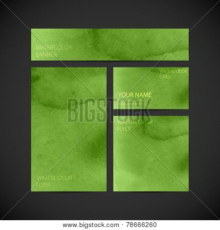 set of vector visual corporate identity green with paint waterco
