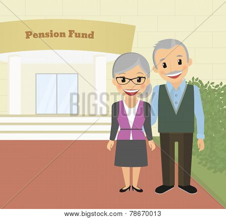 Happy grandparents standing near pension fund. Vector illustration poster