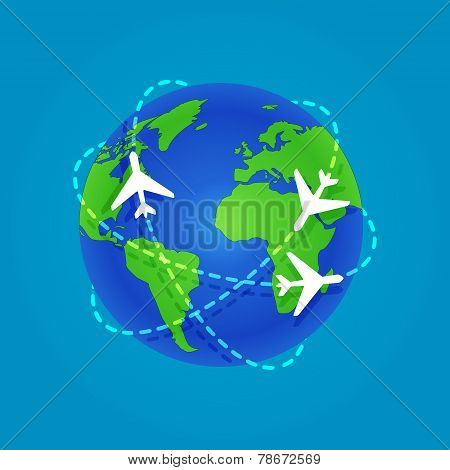 Three Airplanes flying around a globe