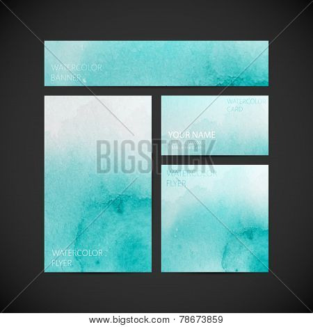 set of vector visual corporate identity with azure paint watercolor splash background. artistic background for web or printed media design. set of business brand stationery design template. banner, business card, flyer, invitation, greeting card and postc poster