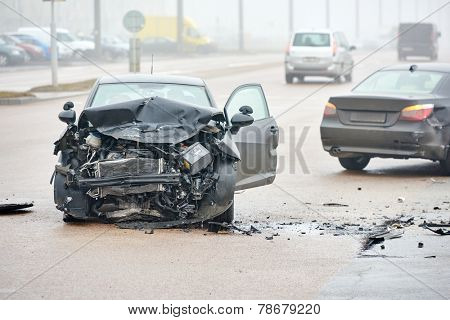 automobile crash accident on street, damaged cars after collision in city