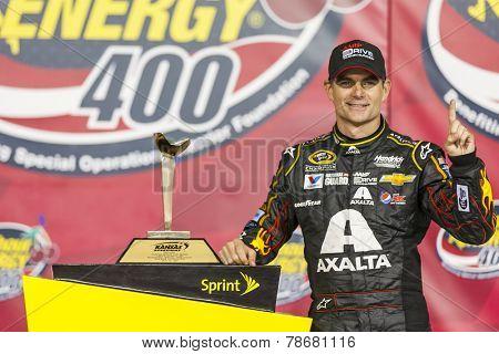 Kansas City, KS - May 10, 2014:  Jeff Gordon (24) wins the