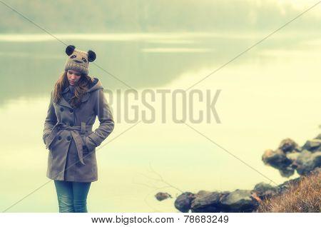 Sad Teenage Girl Standing Outside