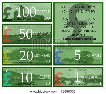 British pound play money with nature theme