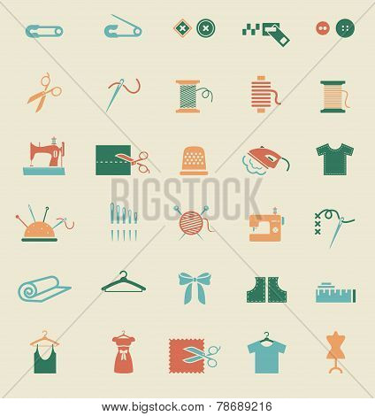 Sewing equipment and needlework. Multicolored icons for sewing, knitting, needlework, pattern. Small device. Vector illustration poster
