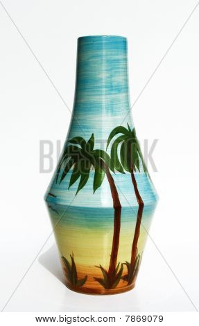 Israeli Ceramic Vase In Retro Style With A Realistic  Image. Isolated On White.