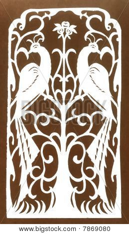 Jewish Traditional Retro Paper-cut  Peacock On Light Background.