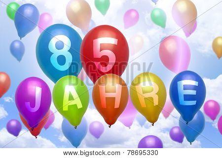 German 85 Years Balloon Colorful Balloons