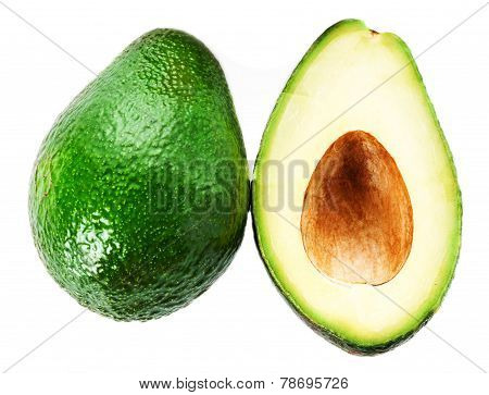 Fresh Avocado Slice And Whole Ripe Green Avocado Fruit Isolated On A White Background. Whole And Hal